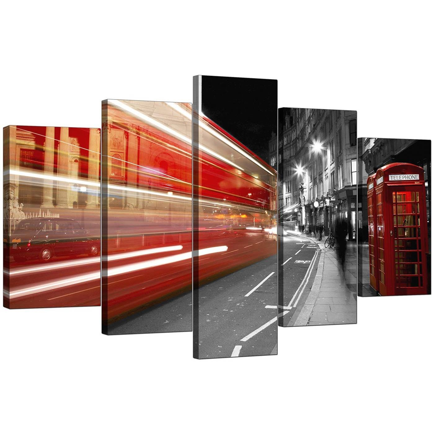 Extra Large Red London Bus Canvas Pictures 5 Piece In Black & White Pertaining To 2018 Black And White Wall Art With Red (View 11 of 25)