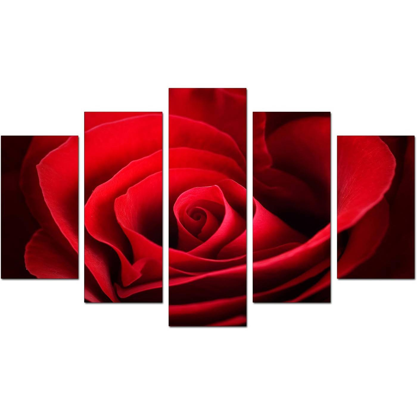 Extra Large Rose Canvas Wall Art 5 Panel In Red Pertaining To Most Popular Red Rose Wall Art (View 4 of 20)
