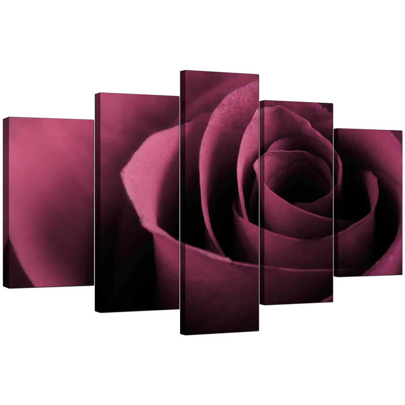 Extra Large Rose Canvas Wall Art Five Piece In Plum With Regard To Latest Rose Canvas Wall Art (View 13 of 20)