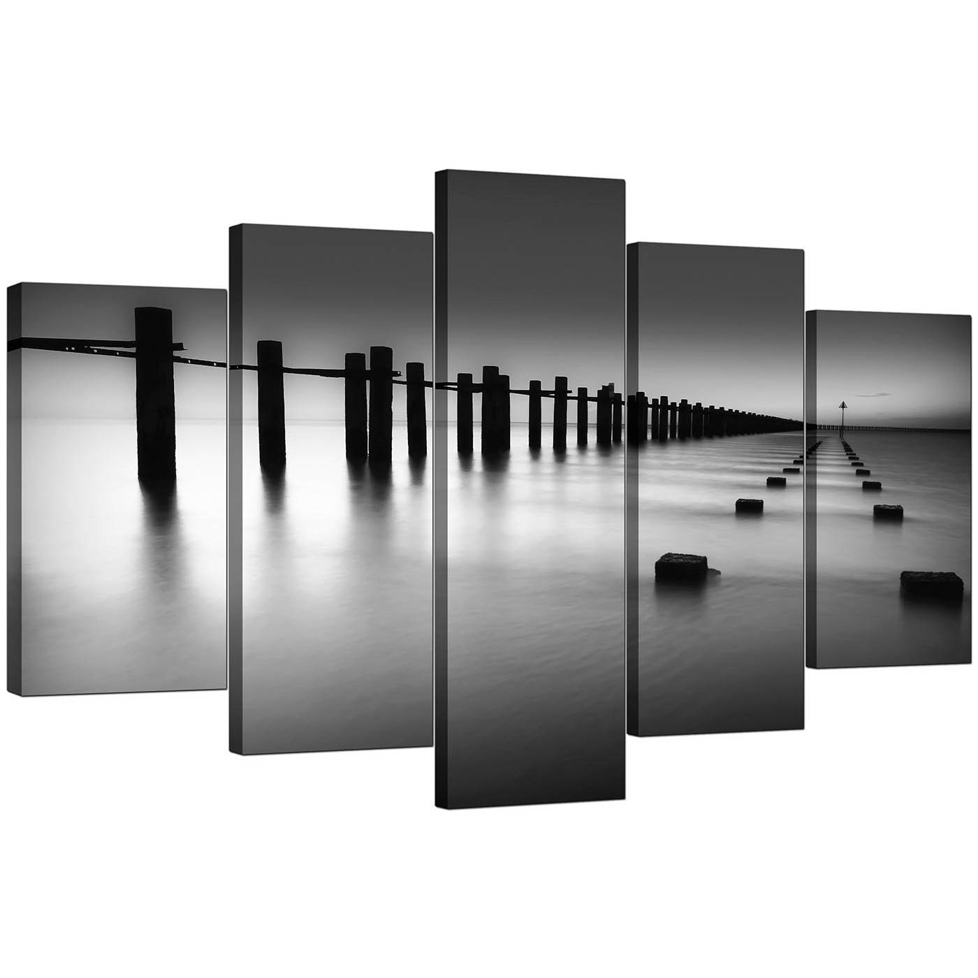 Extra Large Sea Canvas Prints 5 Piece In Black & White Intended For 2018 Large Black And White Wall Art (Gallery 15 of 20)