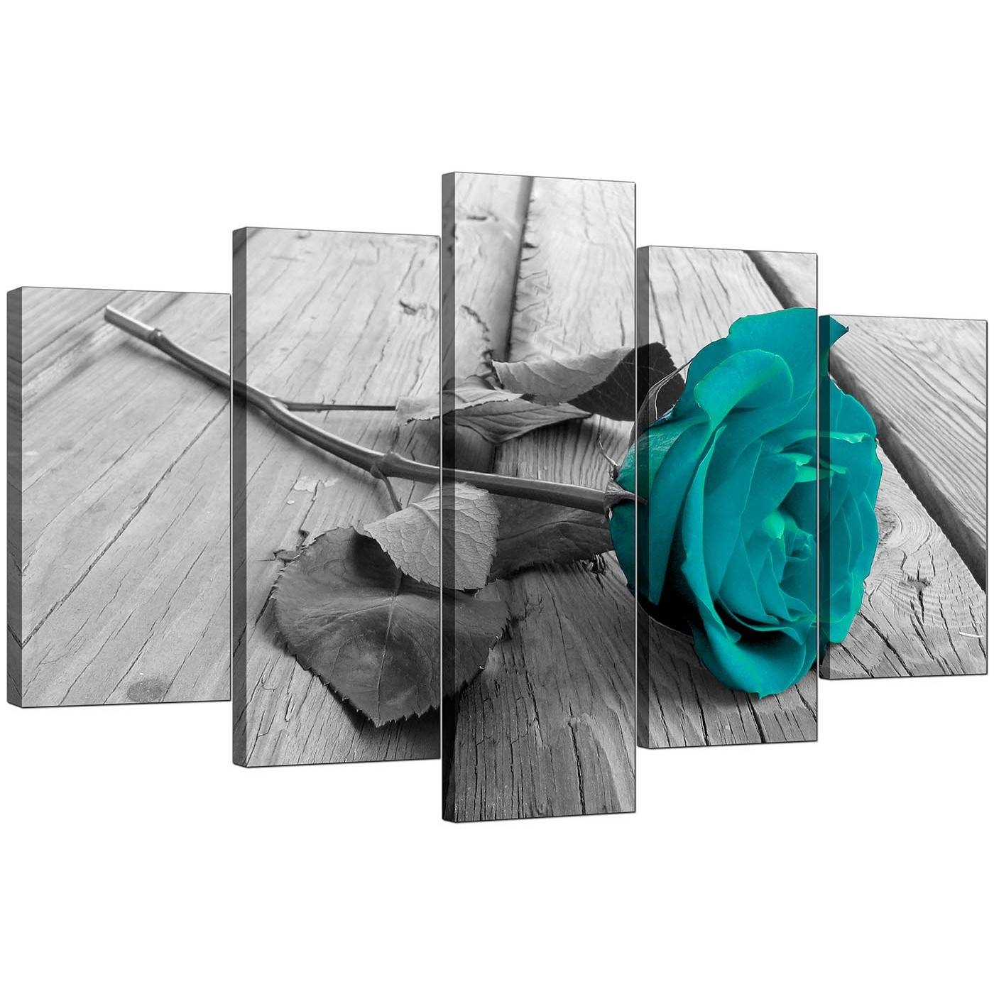 Extra Large Teal Rose Canvas Prints Set Of 5 In Black & White Inside Latest Cheap Black And White Wall Art (Gallery 13 of 20)