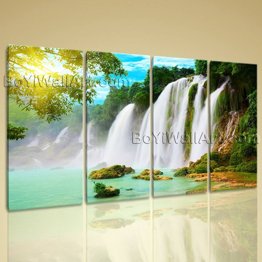 Extra Large Wall Art Print Canvas Hd Landscape Waterfall Within Most Popular Waterfall Wall Art (Gallery 13 of 20)