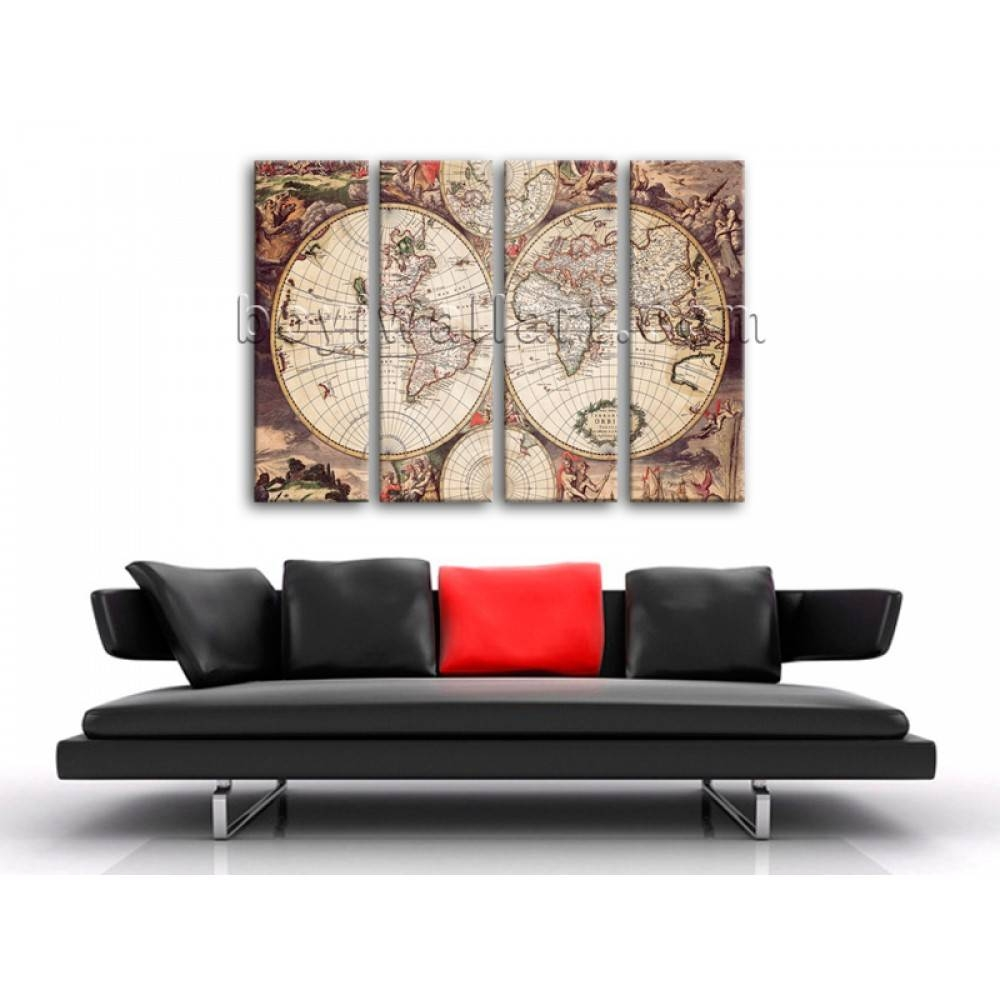 Extra Large Wall Art Print On Canvas World Map Retro Global Atlas For 2018 Extra Large Wall Art Prints (Gallery 8 of 20)