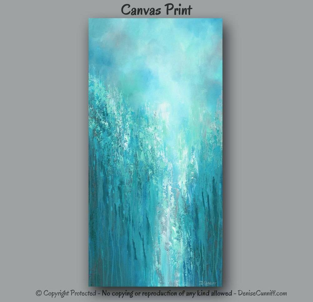 Extra Large Wall Art Teal Abstract Turquoise Home Decor Inside Most Popular Large Teal Wall Art (View 3 of 20)