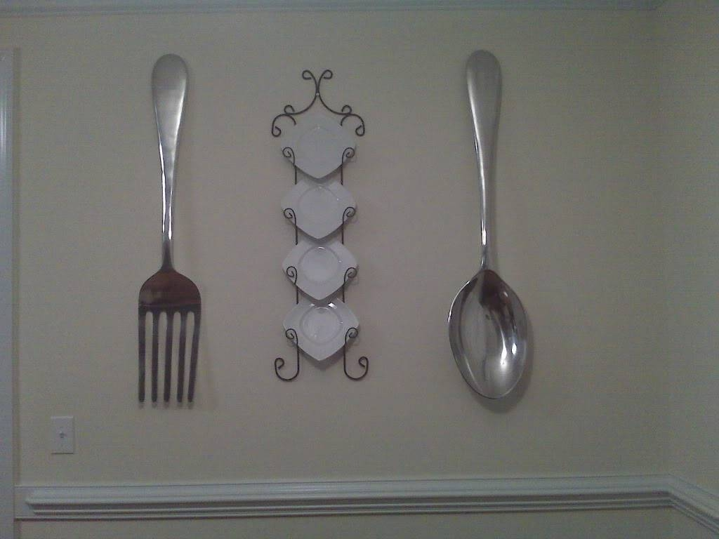 Extraordinary Oversized Spoon Fork And Knife Wall Art Pewter With Most Popular Oversized Cutlery Wall Art (View 2 of 20)