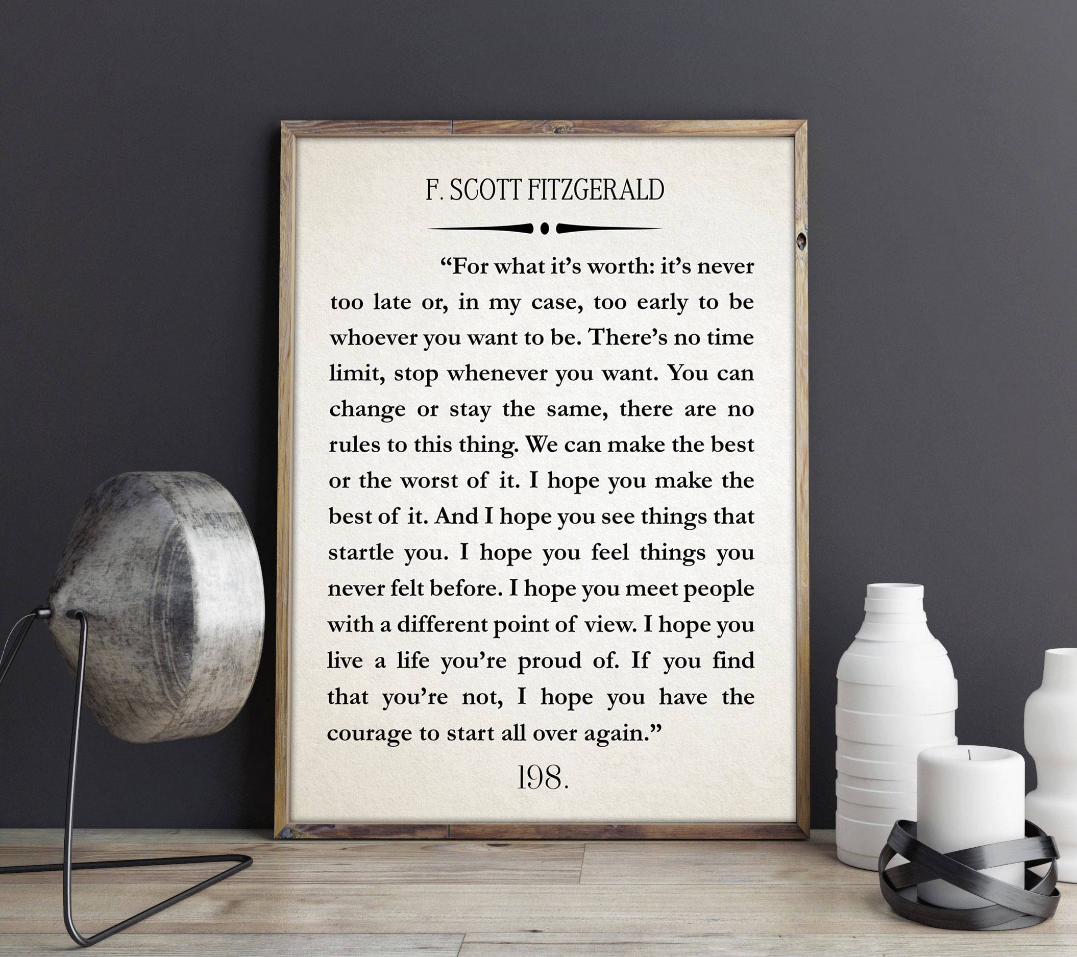 F Scott Fitzgerald Quote Great Gatsby Poster Great Gatsby Wall Art With Regard To Most Current Great Gatsby Wall Art (View 2 of 20)