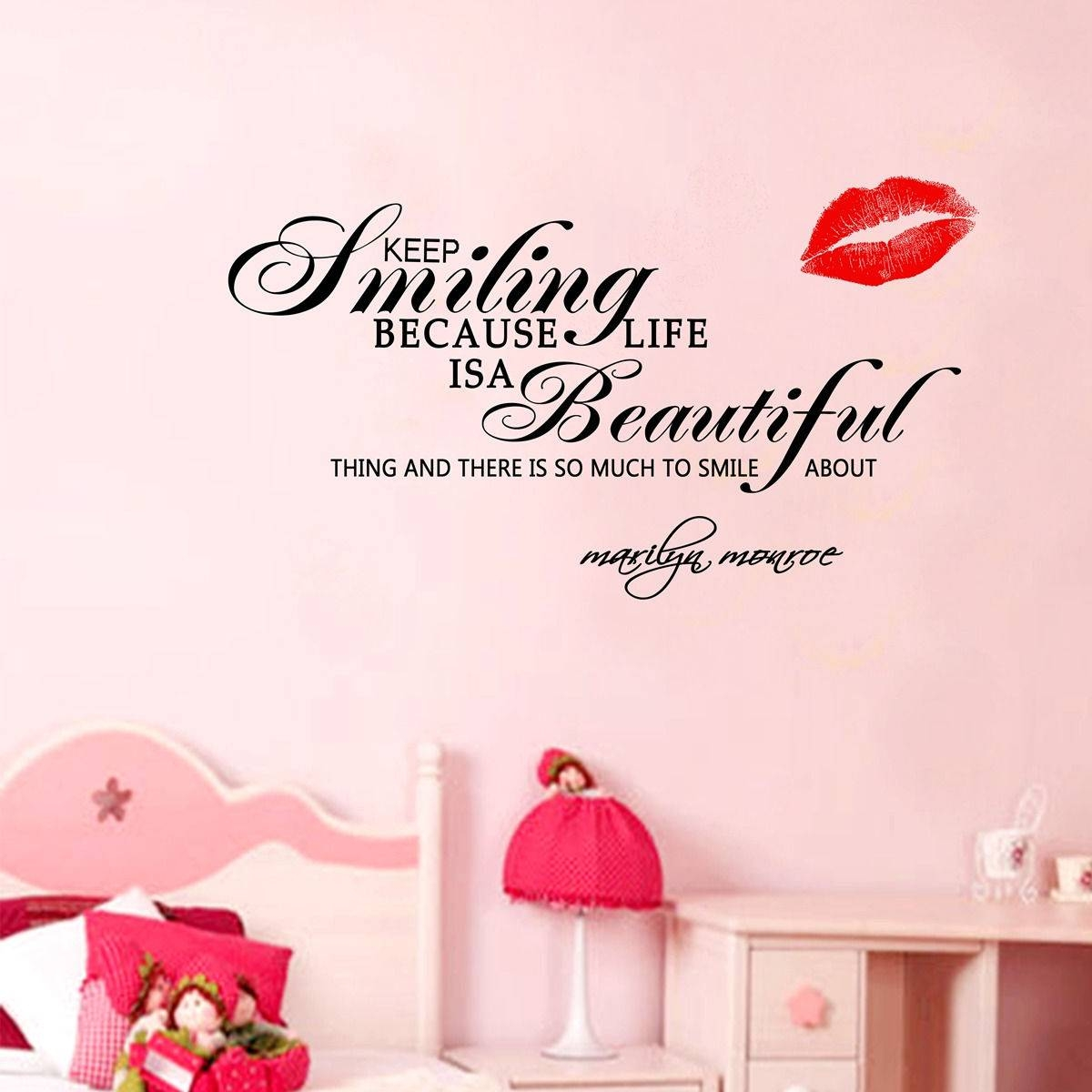 Face Wall Sticker Marilyn Monroe Quote Wall Decal Vinyl Art Within 2018 Marilyn Monroe Wall Art Quotes (View 16 of 25)