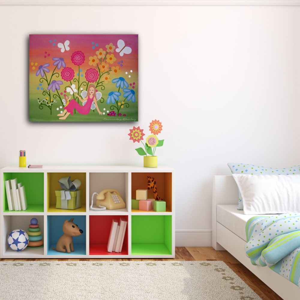 Fairy Garden – Kids Art Canvas Panel Children's Decor – Mother Pertaining To Most Recently Released Childrens Wall Art Canvas (View 7 of 20)