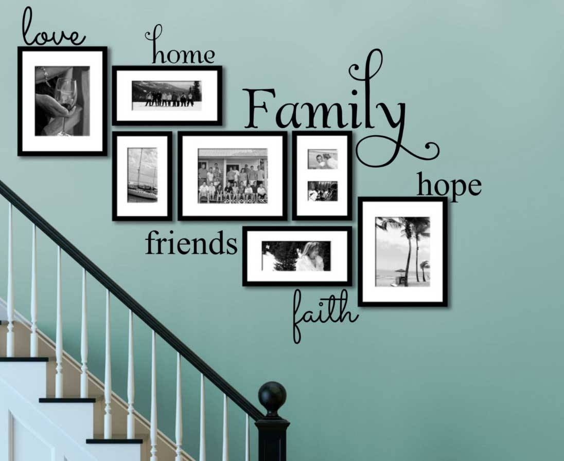 Faith Family Friends Wall Art On Turquoise Wall Ideas | Home For Recent Family Photo Wall Art (View 9 of 25)