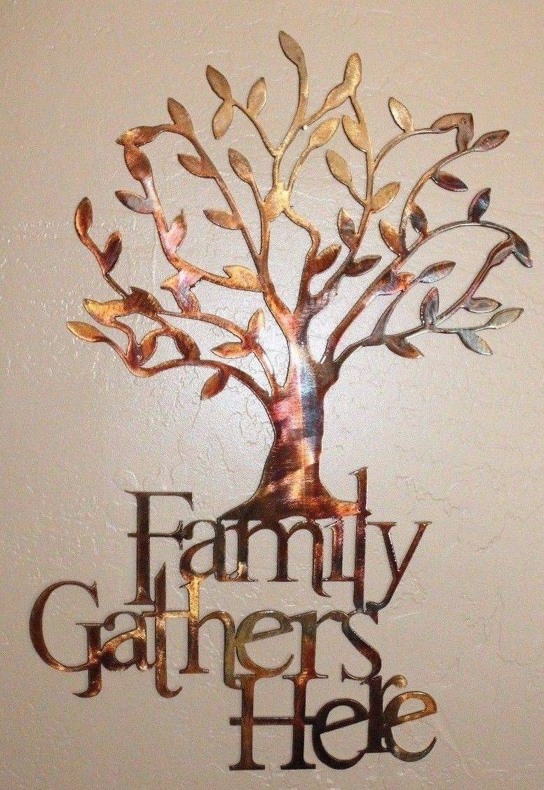 "Family Gathers Here Olive Tree 21 1/2"" X 14"" Metal Wall Art Copper With Regard To Most Recent Bronze Tree Wall Art (View 4 of 25)"