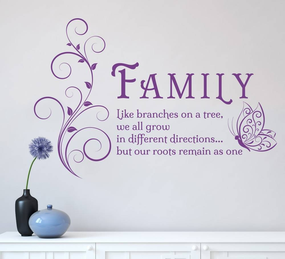 Family Like Branches Quotes Butterfly Vinyl Wall Art Sticker Pertaining To Best And Newest Butterflies Wall Art Stickers (View 10 of 20)