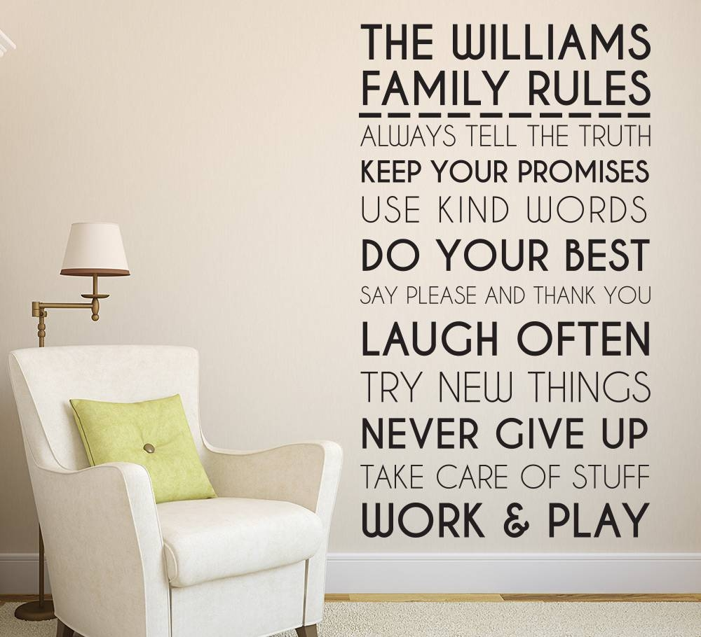 Family Rules Wall Sticker | Personalised Family Decals Inside Recent Family Photo Wall Art (View 13 of 25)