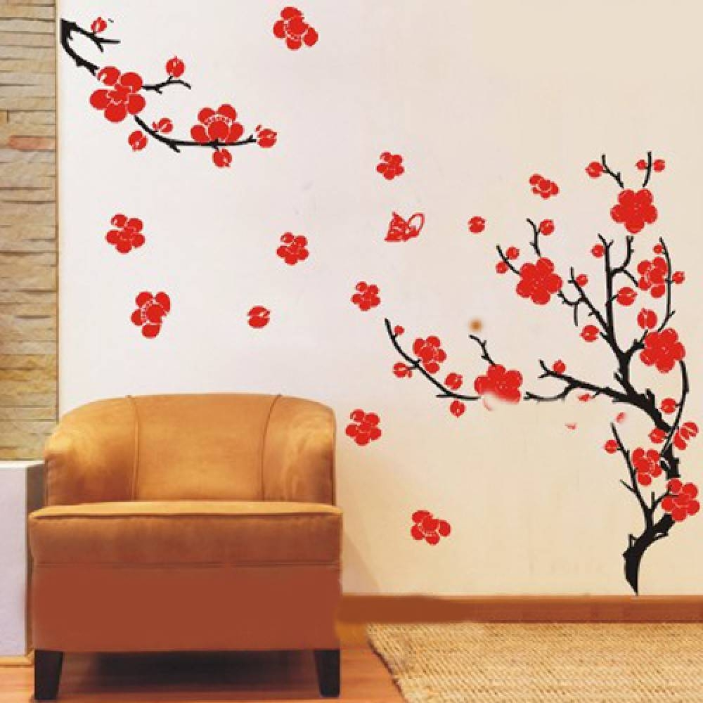 Fanciful Blowing Blossom Tree Wall Decal 1181 To White Plum Throughout Most Popular Red Cherry Blossom Wall Art (View 19 of 30)