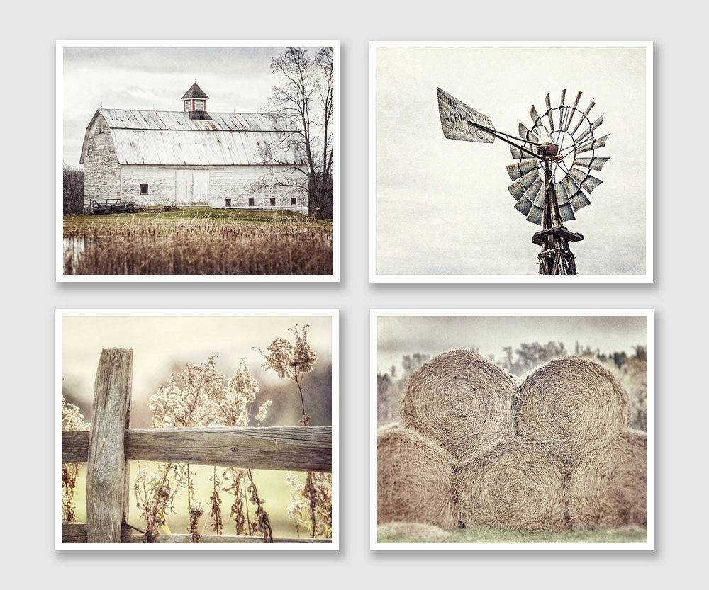 Farmhouse Decor Rustic Country Set Of 4 Modern Farmhouse Decor Regarding Most Recent Country Canvas Wall Art (View 8 of 20)