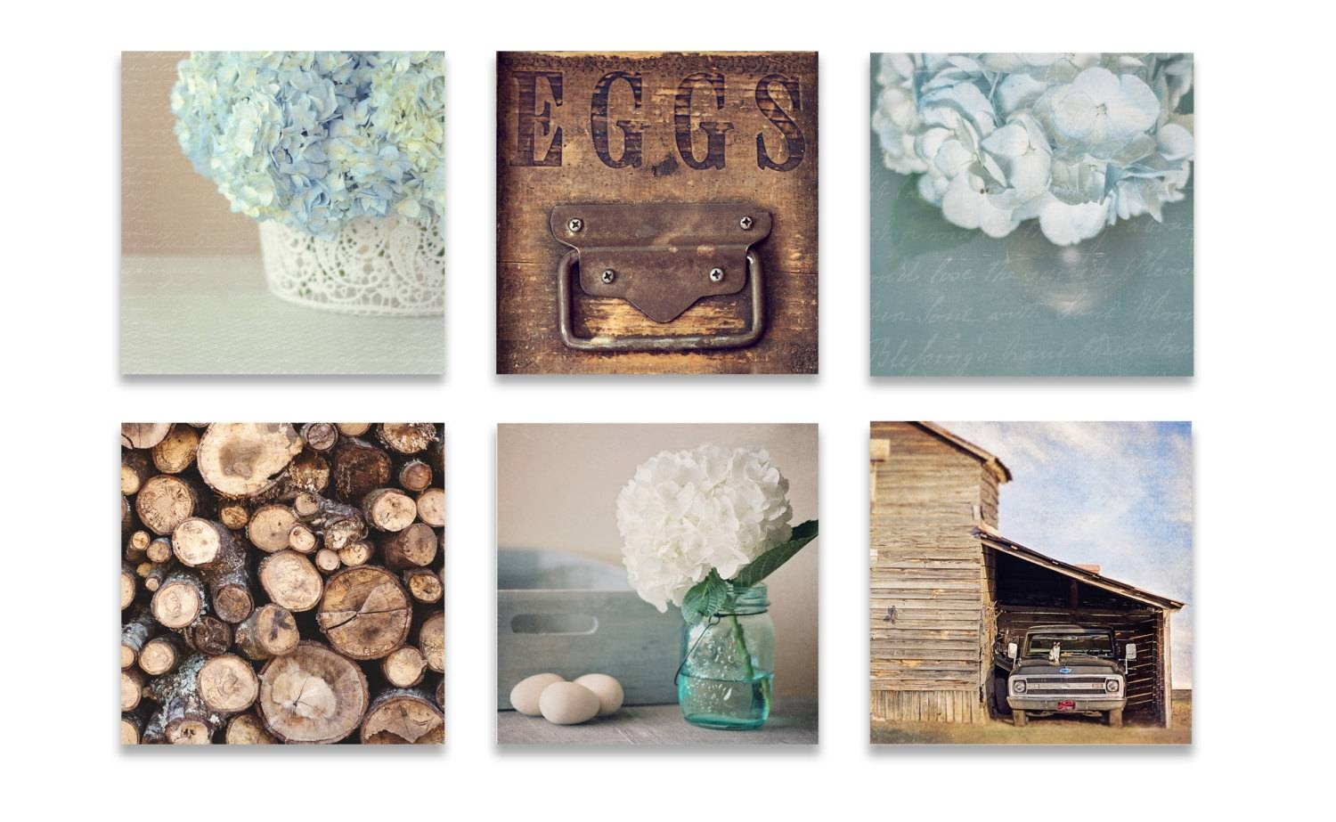 Farmhouse Wall Decor Rustic Wall Art Set Of Six Prints Blue Inside Recent Kitchen Wall Art Sets (View 2 of 15)