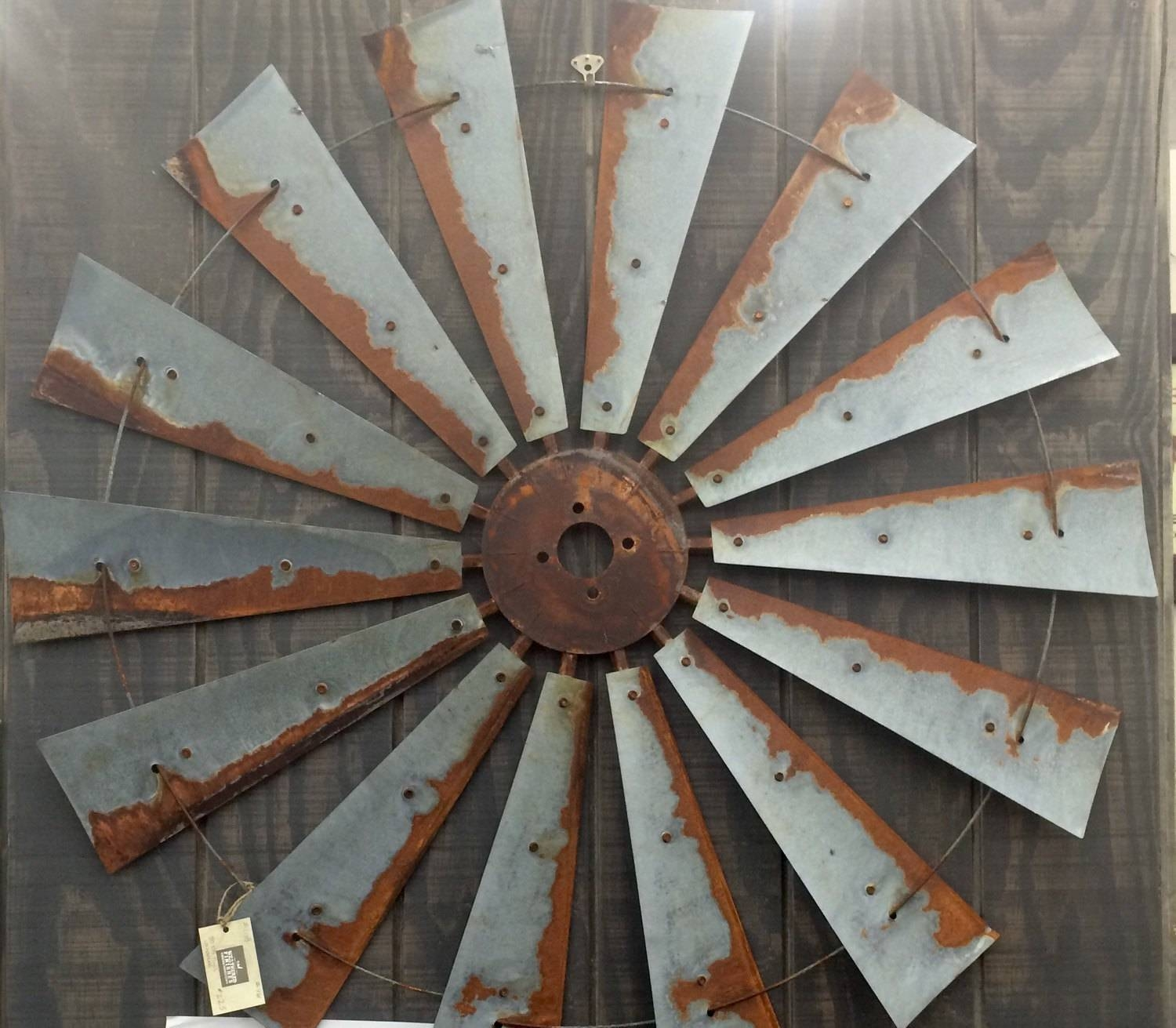Farmhouse Windmill Metal Wall Decor 47 Inch Large Wall Regarding Recent Large Metal Art (View 6 of 20)