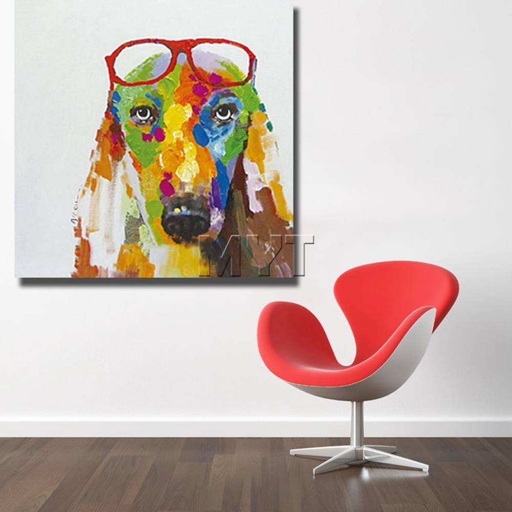 Fashion Glasses Dog Wall Art Home Decoration Living Room For Current Dachshund Wall Art (View 16 of 22)