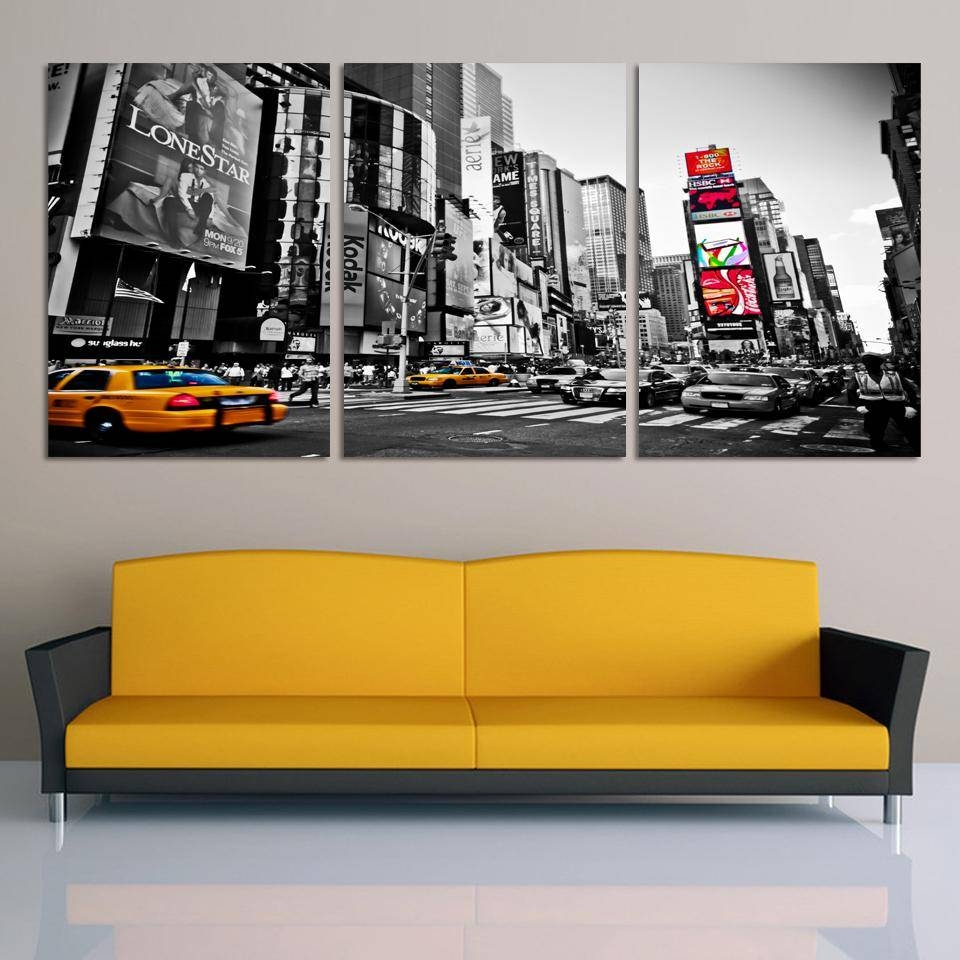 Fashion Home Decor Canvas 3 Piece Wall Art Picture City Night Intended For Most Current 3 Piece Modern Wall Art (View 4 of 20)