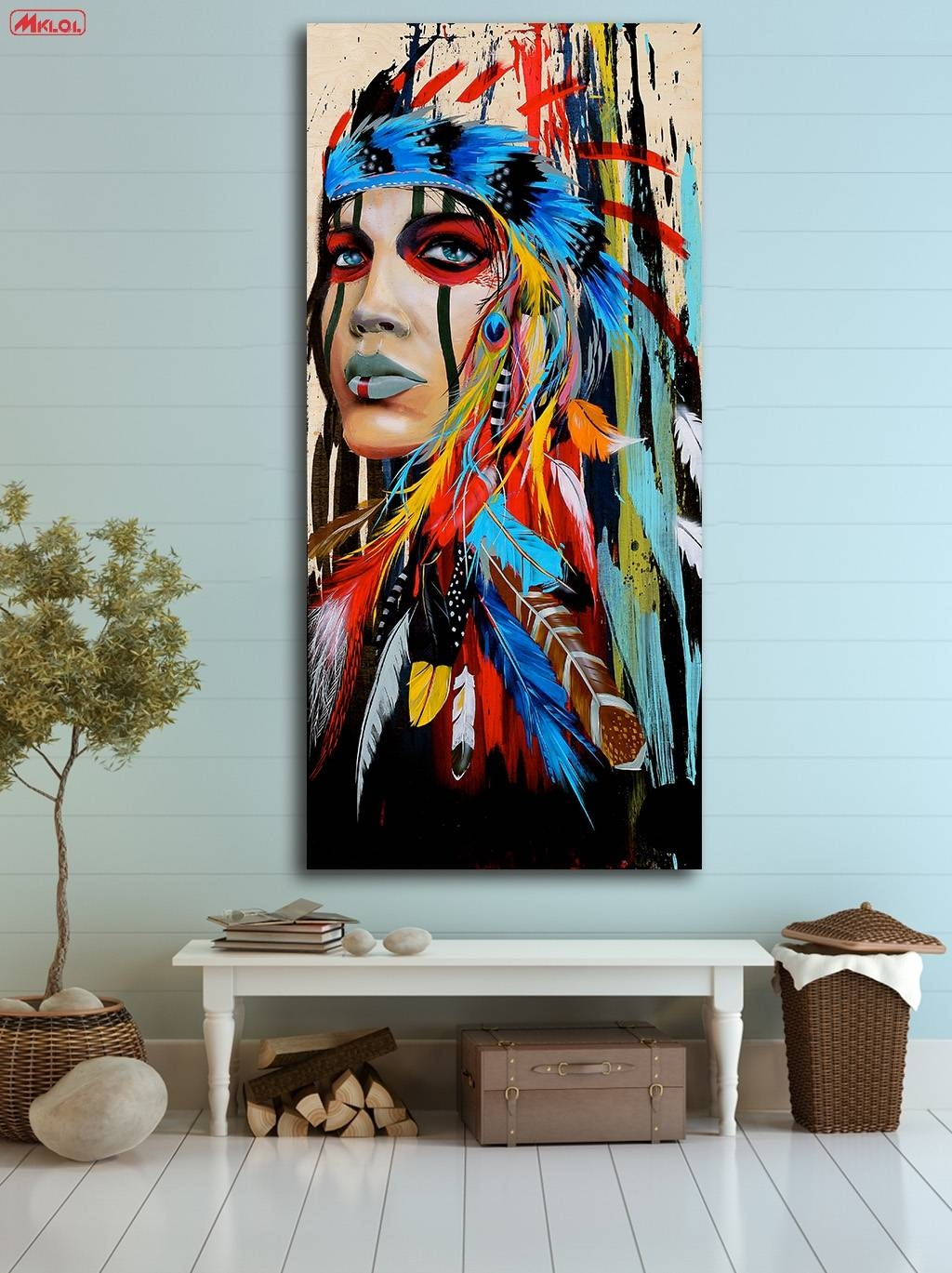Fashion Oil Painting Native American Girl Paiting Home Decor On For Newest Native American Wall Art (View 1 of 25)