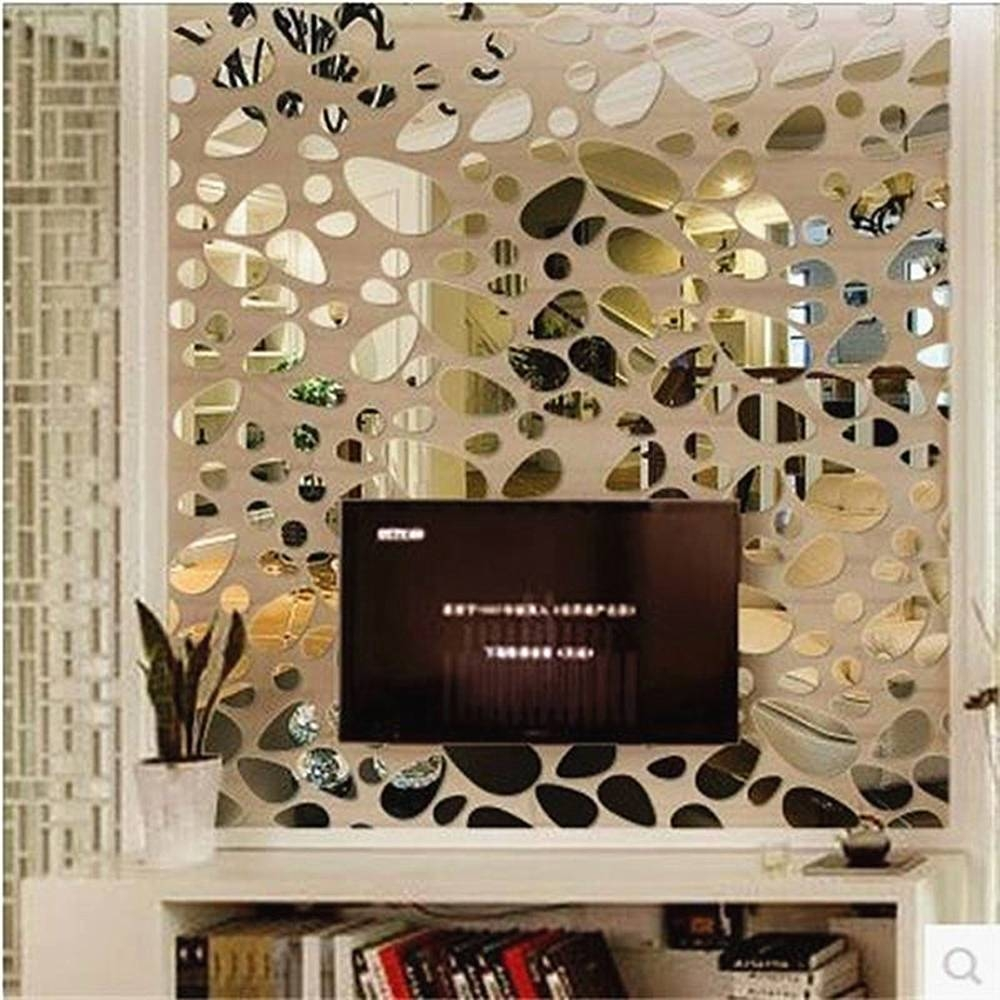 Fashion Oval Abstract Wall Decor Art Acrylic Wall Sticker Diy 3D Within Most Current Abstract Mirror Wall Art (View 6 of 15)
