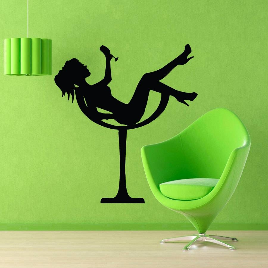 Fashion Wall Decals Girl In Martini Glass Drinking Cocktail Throughout Most Current Martini Glass Wall Art (View 13 of 30)
