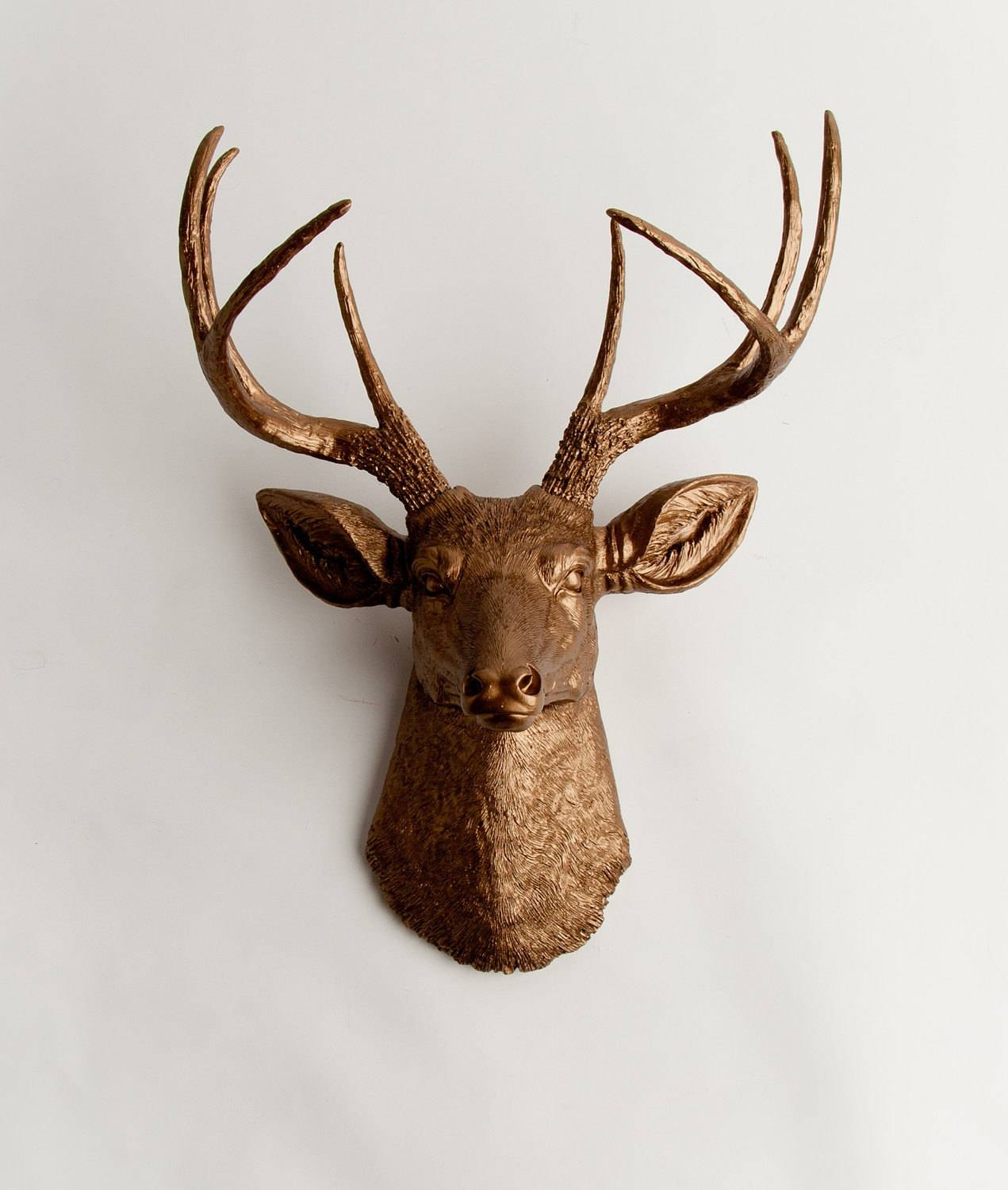 Faux Taxidermy Deer Head The Bennett Bronze Resin Stag Mount Throughout Most Up To Date Stags Head Wall Art (View 8 of 25)
