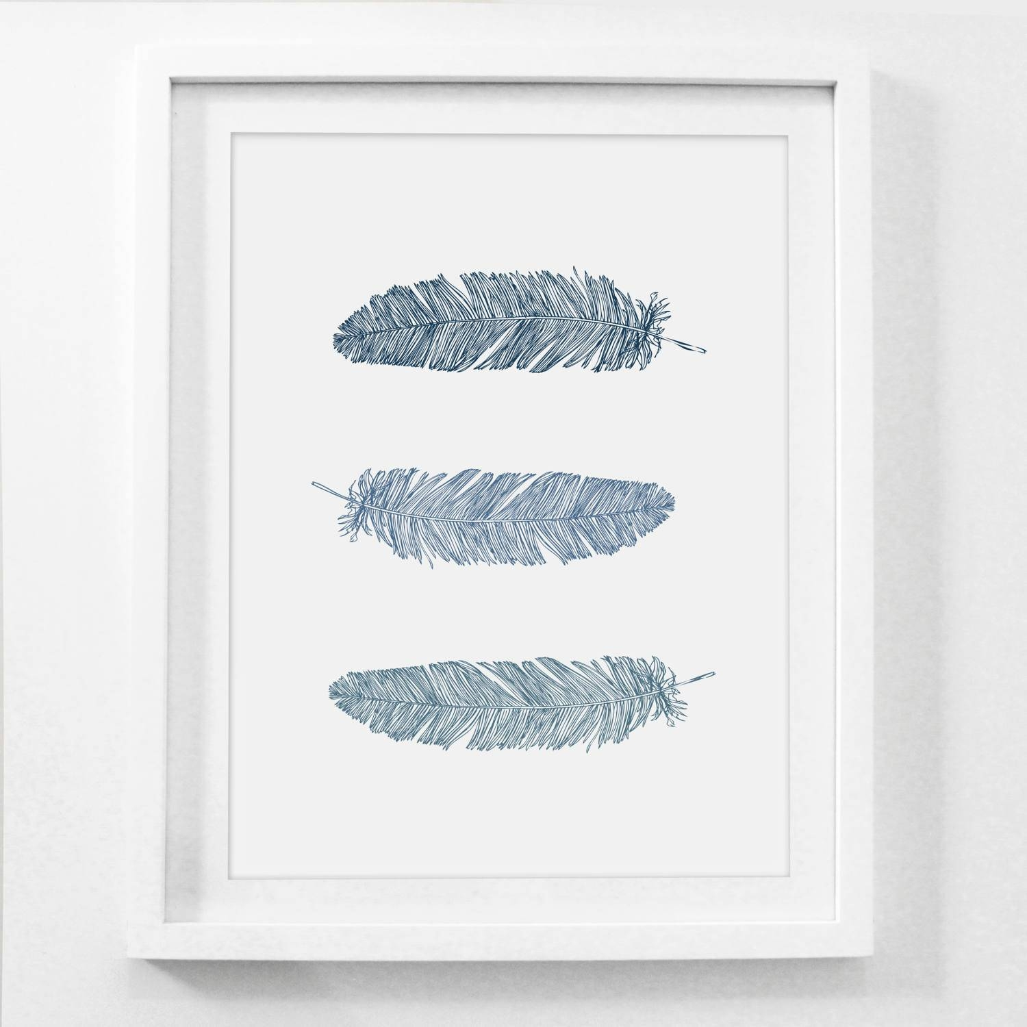 Feather Wall Art Navy Blue Wall Art Blue Prints Feather Within Most Recently Released Dark Blue Wall Art (View 9 of 20)
