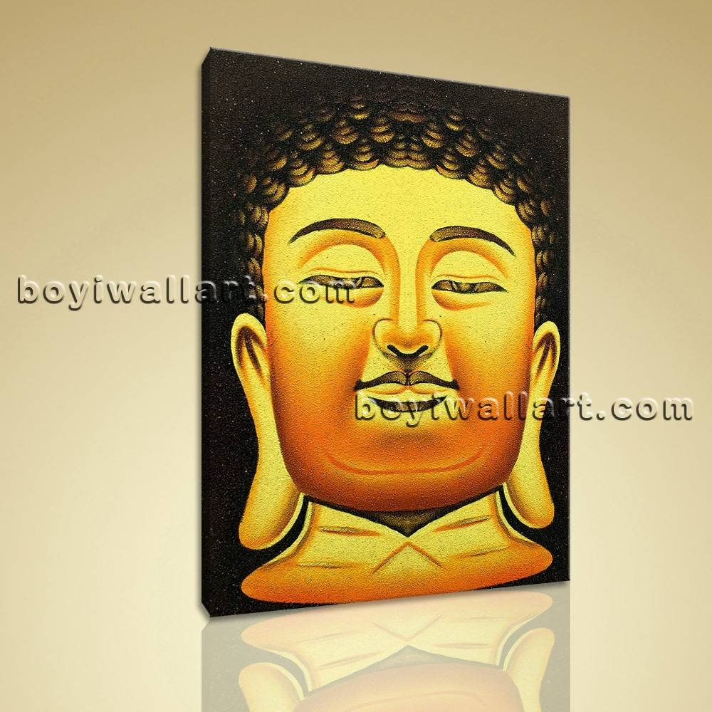 Feng Shui Painting Abstract Buddha Head Stately Home Decor Wall within Most Recently Released Large Buddha Wall Art