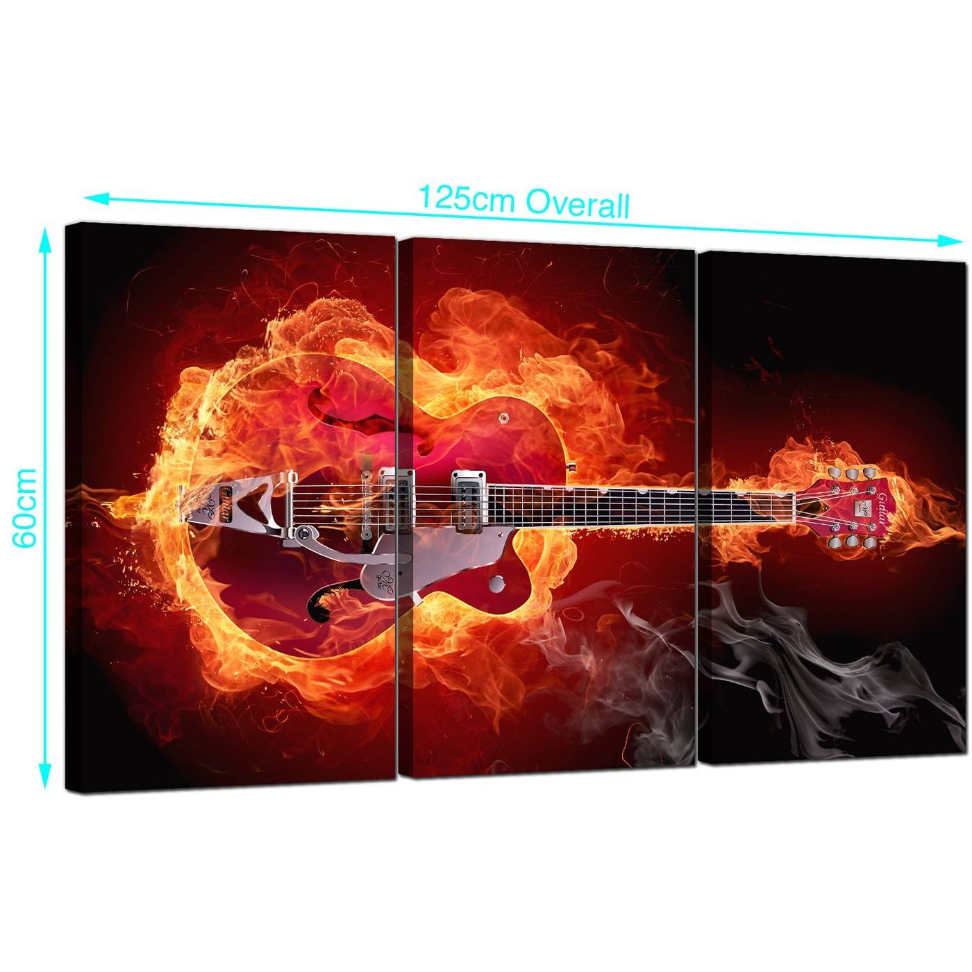 Fiery Guitar Canvas Pictures Three Part For Your Boys Bedroom Throughout 2018 Guitar Canvas Wall Art (View 17 of 20)