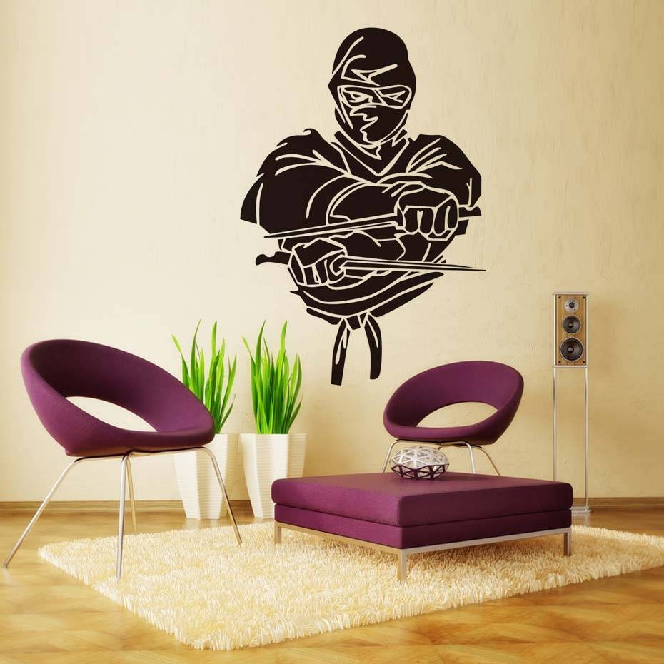 Fighter Ninja Wall Decal Vinyl Art Design Self Adhesive Wall Within Current Samurai Wall Art (View 4 of 20)