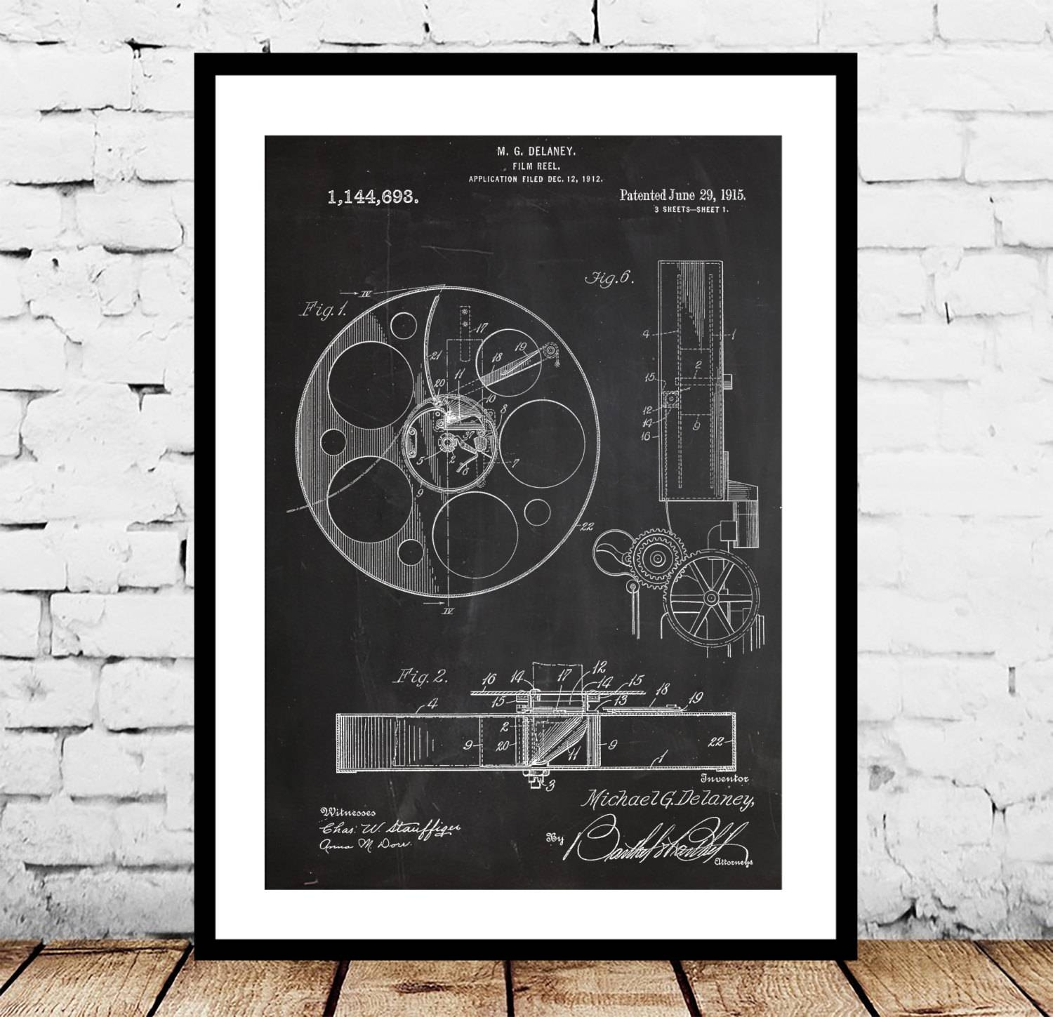 Film Reel Patent, Film Reel Poster , Film Reel Print, Film Reel In Best And Newest Film Reel Wall Art (View 11 of 30)