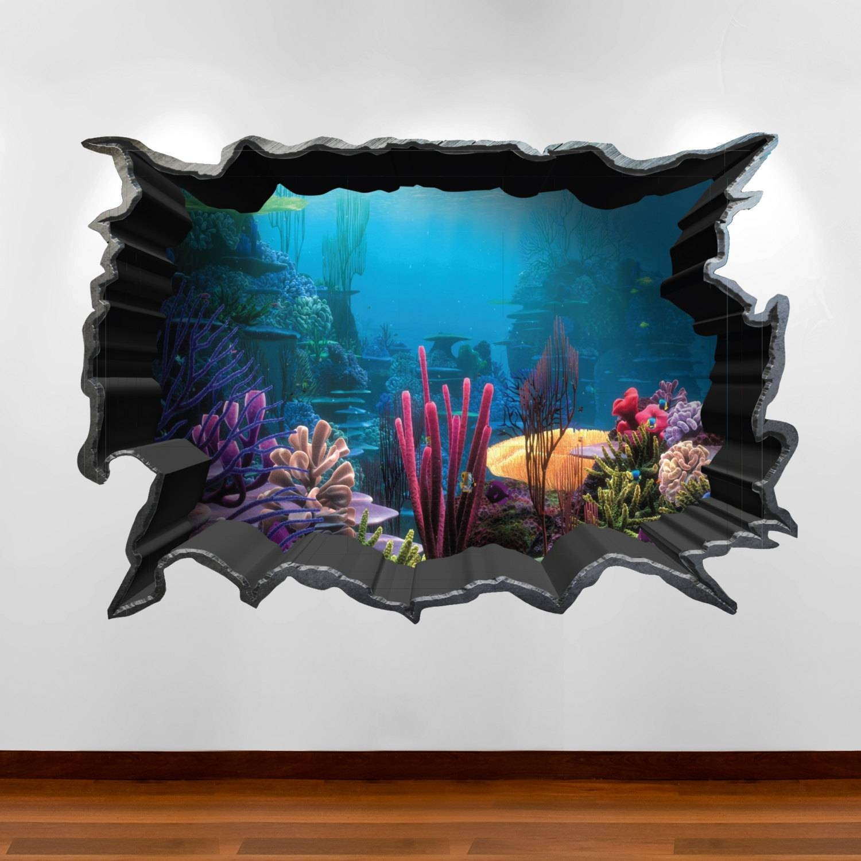 Finding Nemo Aquarium 3d Wall Art Sticker Decal Boy Girl With 2017 3d Visual Wall Art (View 4 of 20)
