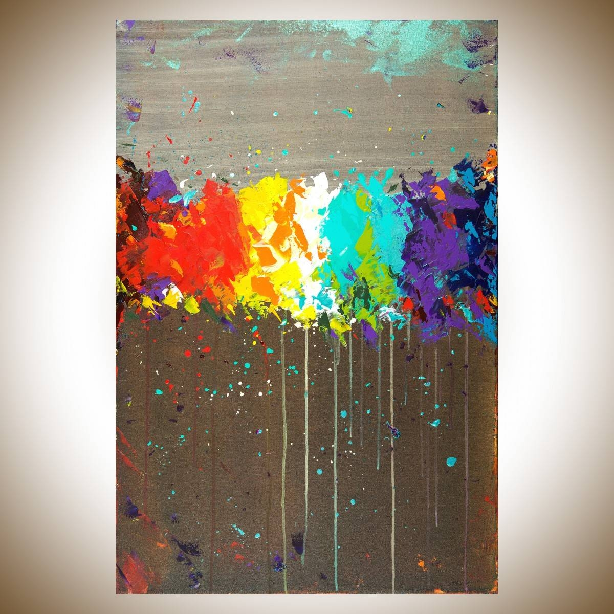 """Fireworksqiqigallery 36""""x24"""" Original Modern Abstract Wall Pertaining To 2018 Colorful Abstract Wall Art (View 3 of 20)"""