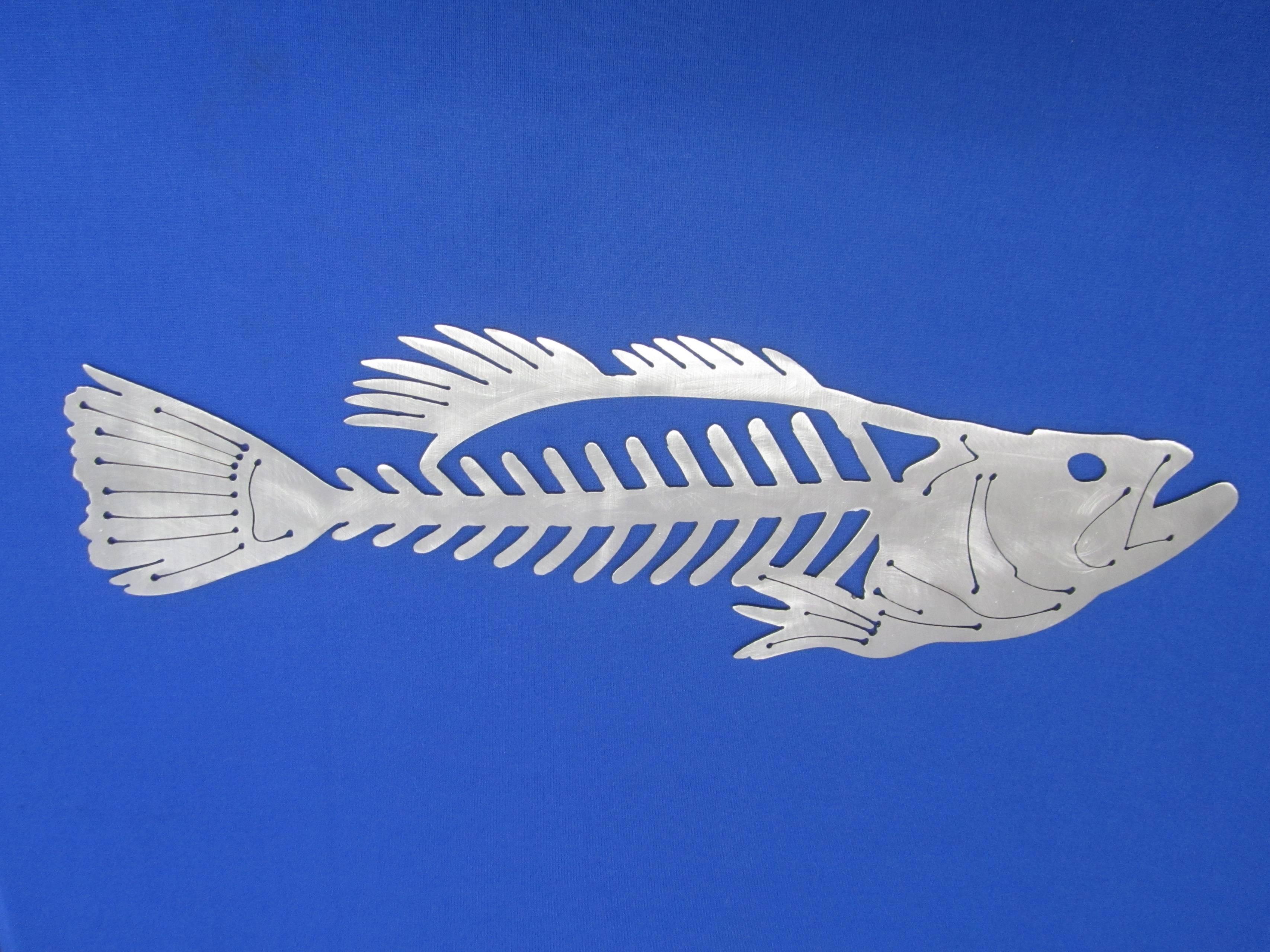 "Fishing Fish Bone Wall Art Plasma Cut 20"" X 6"" X 10 Ga (View 15 of 20)"