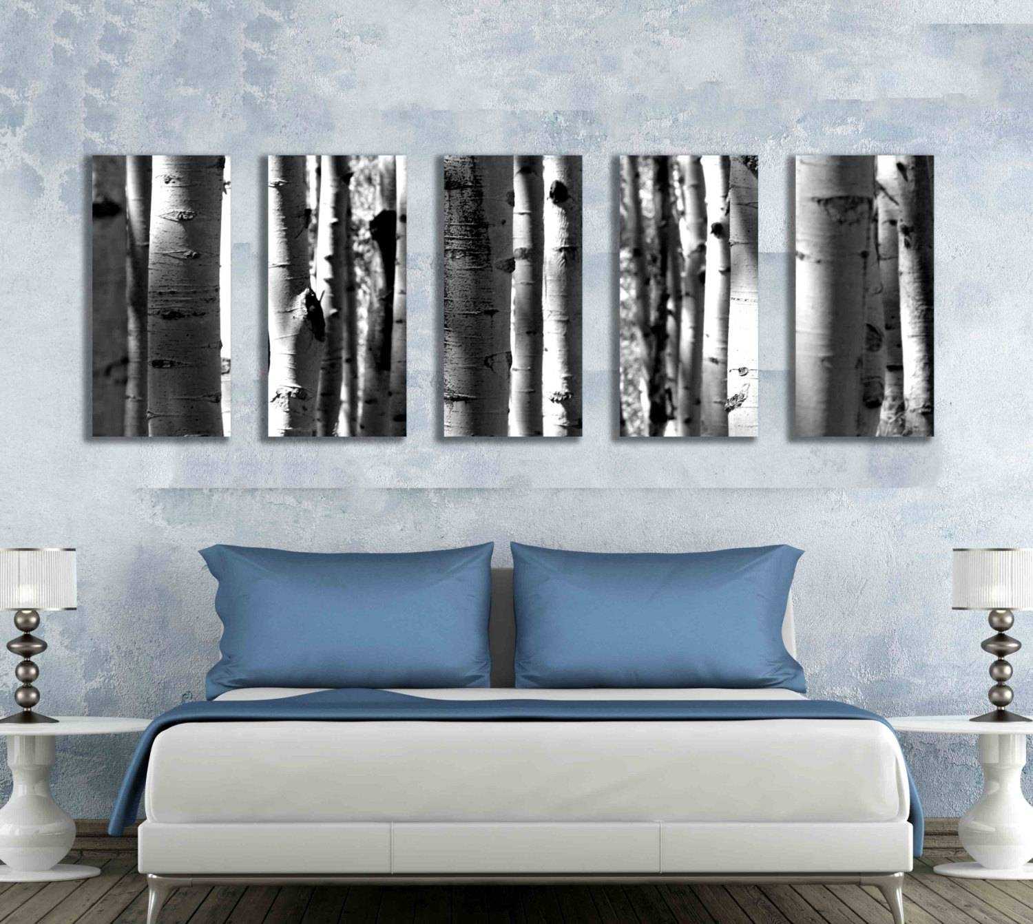 Five Multi Panel 10X20 Inch Canvas Print Black And White Aspen Pertaining To Most Current Aspen Tree Wall Art (View 4 of 20)