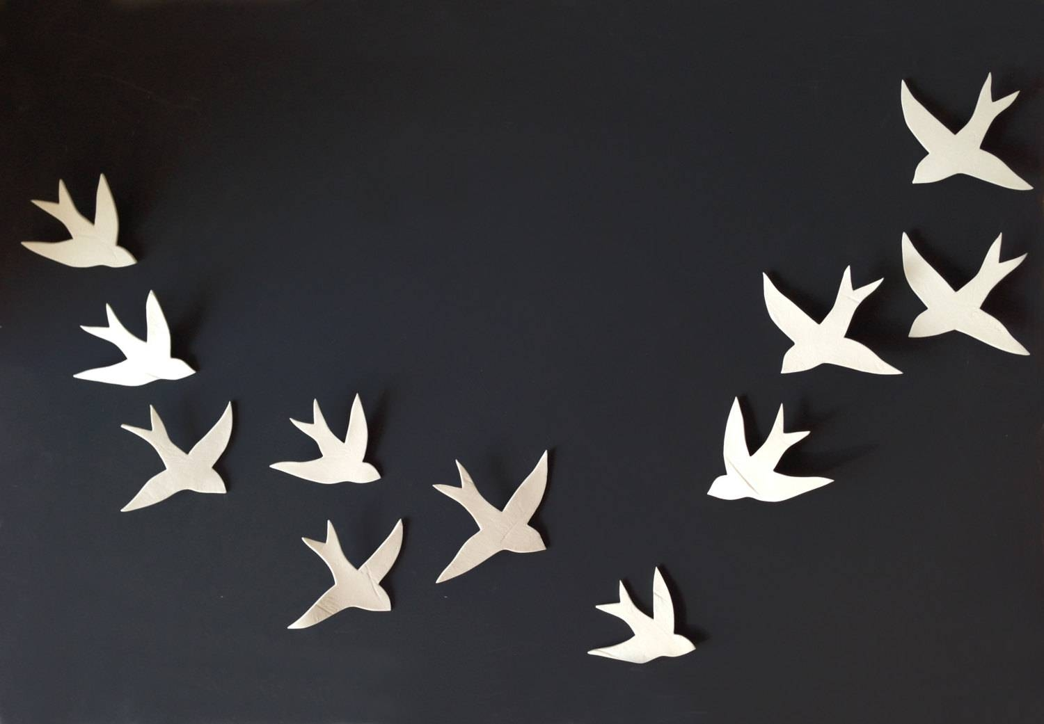 Flock 11 Porcelain Ceramic Wall Art Swallows Bird Wall With Regard To Recent Ceramic Bird Wall Art (View 18 of 30)