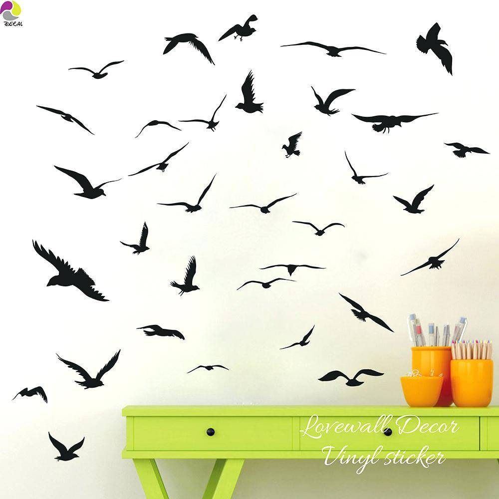 Flock Of Birds Wall Decal Flying Pigeon Bird Wall Art Stickers Within Current Flock Of Birds Wall Art (Gallery 12 of 25)