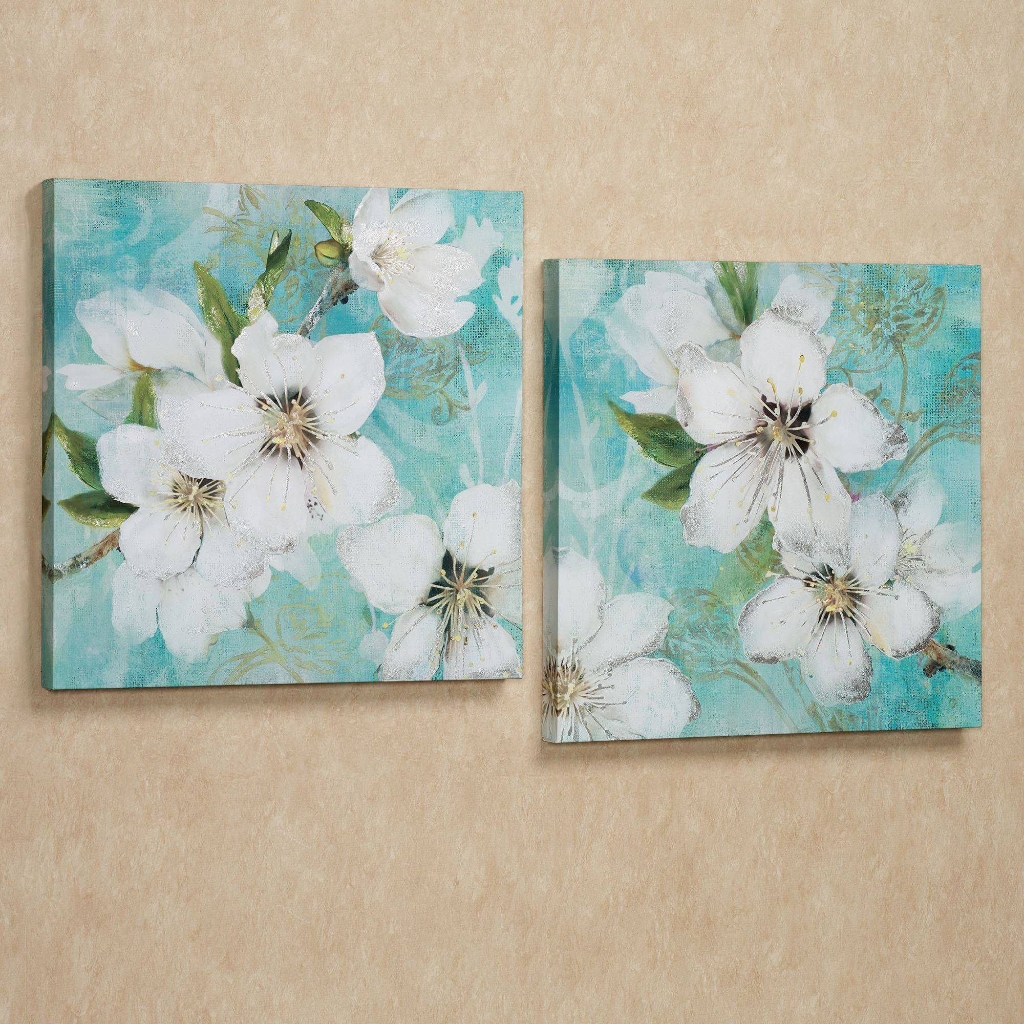 Floral And Botanical Canvas Wall Art | Touch Of Class In Latest Teal Flower Canvas Wall Art (View 3 of 20)