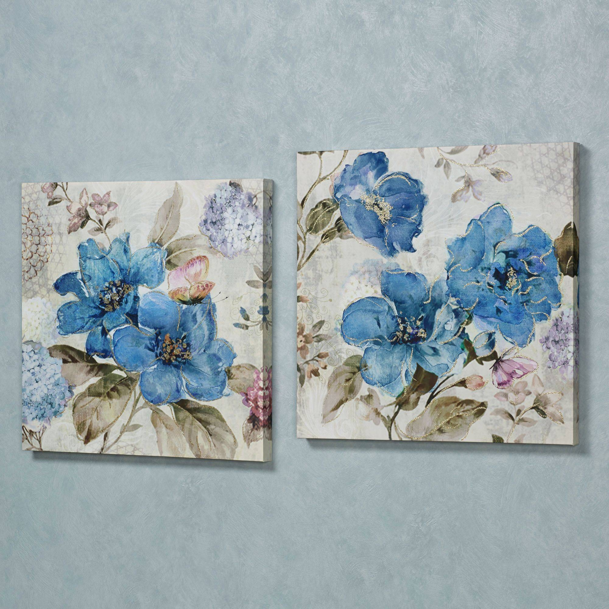 Floral And Botanical Canvas Wall Art | Touch Of Class Regarding Latest Teal Flower Canvas Wall Art (View 15 of 20)