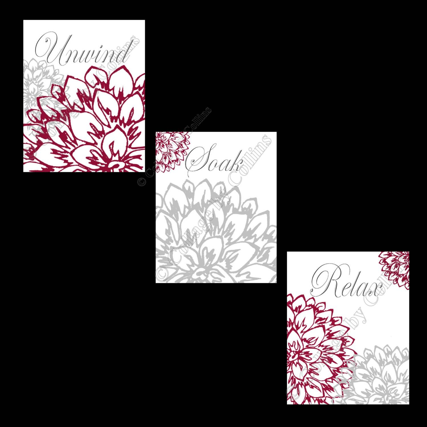 Floral Flower Gray And Burgundy Wall Art Prints Decor Bathroom Throughout Most Recently Released Burgundy Wall Art (View 10 of 15)