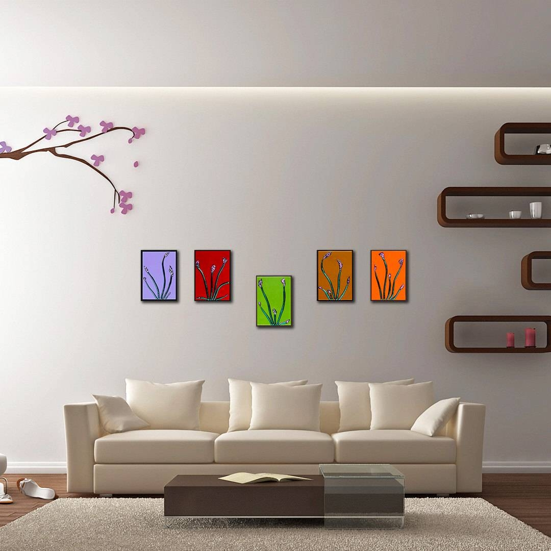 Floral Wall Art Set Of 5. Modern Glass Panels (View 17 of 20)