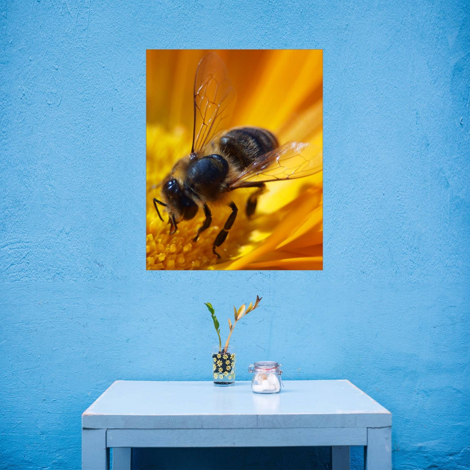 Flower And Bee Canvas Art, Bee Close Up Wall Art, Insect Canvas With Most Recently Released Insect Wall Art (View 10 of 30)