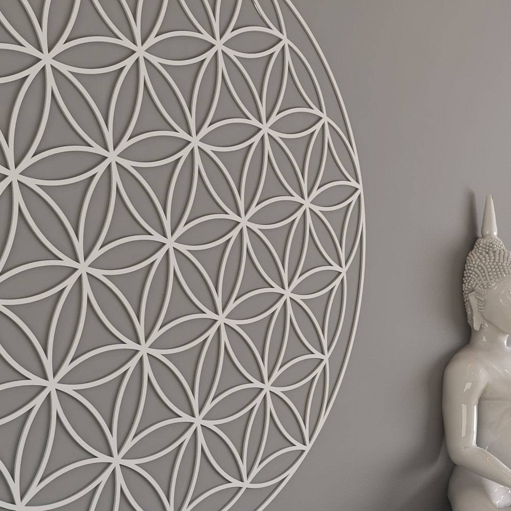 Flower Of Life Sacred Geometry Wall Art Mandala Yoga Intended For Most Popular Fretwork Wall Art (View 14 of 25)