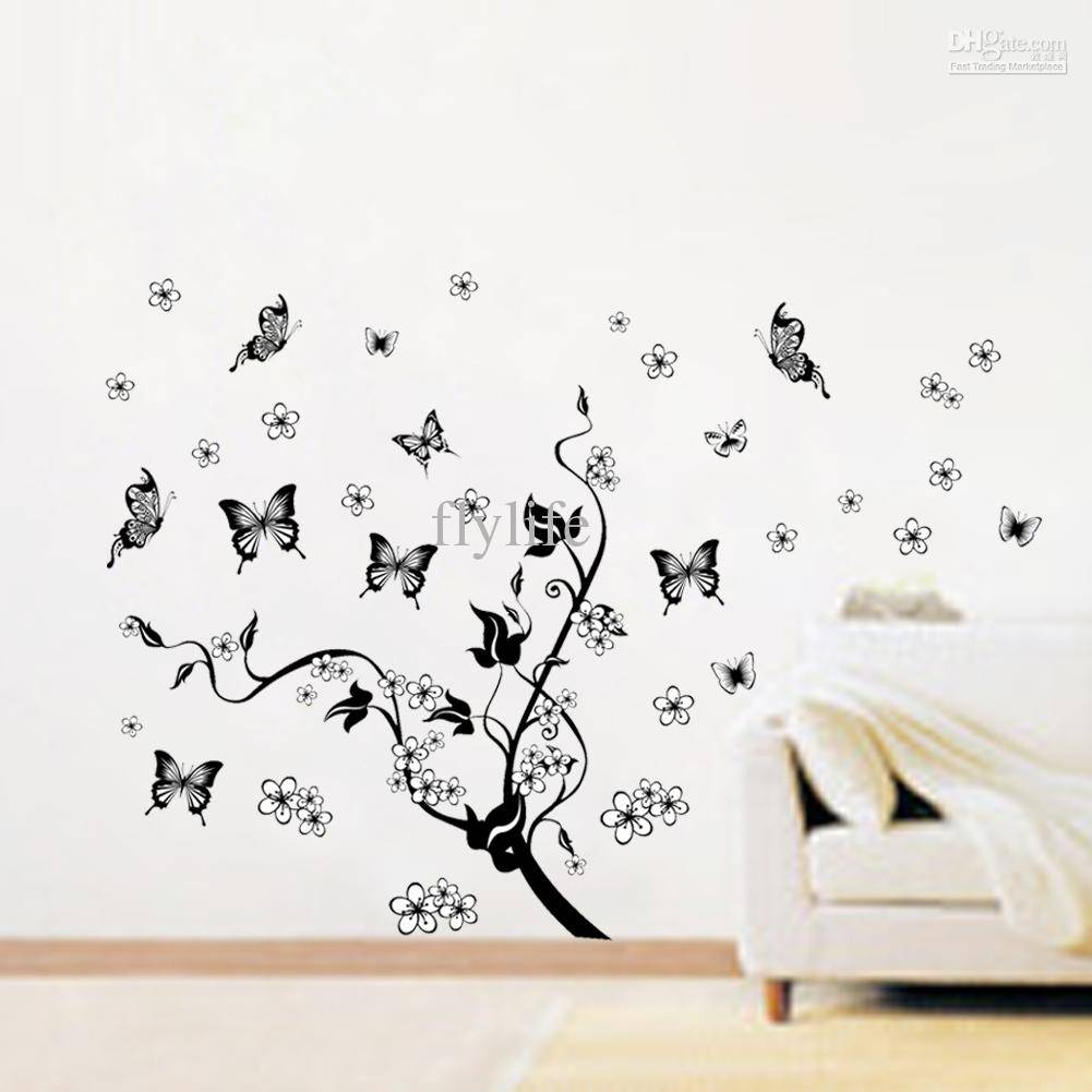 Flowers And Black Butterflies Vine Decals, Art Vinyl Wall Decor With Most Up To Date Butterflies Wall Art Stickers (View 7 of 20)