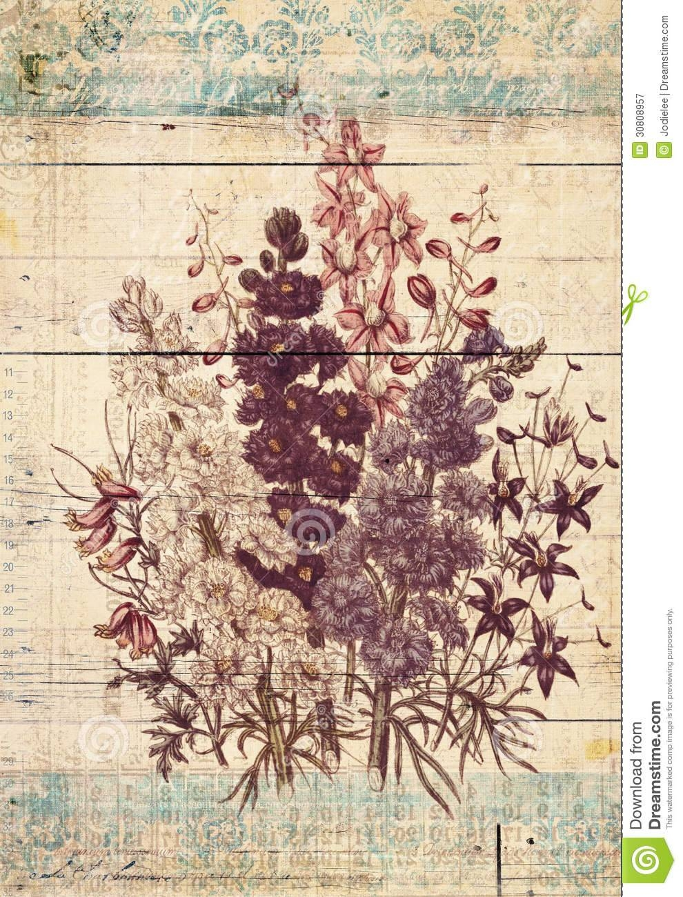 Flowers Botanical Vintage Style Wall Art With Textured Background For Most Recently Released Vintage Style Wall Art (View 1 of 20)