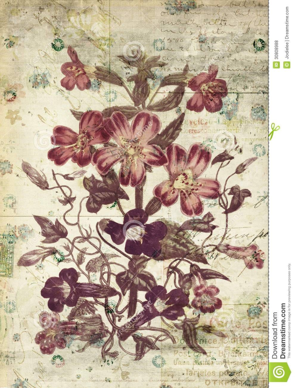 Flowers Botanical Vintage Style Wall Art With Textured Background Inside 2017 Vintage Style Wall Art (View 5 of 20)
