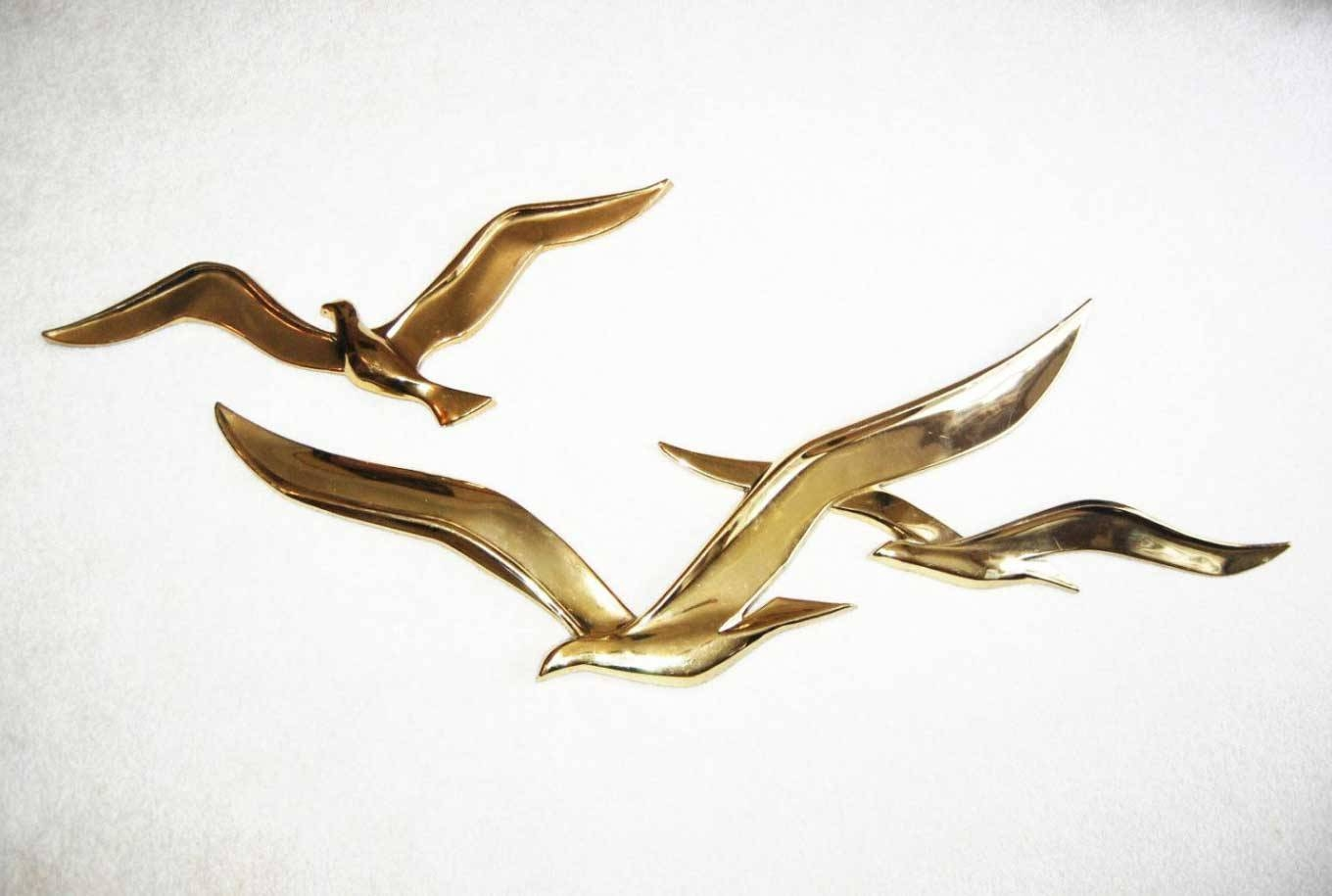 Flying Birds Metal Wall Art Gold Sculpture | Home Interior & Exterior Inside Most Recent Birds In Flight Metal Wall Art (View 9 of 30)