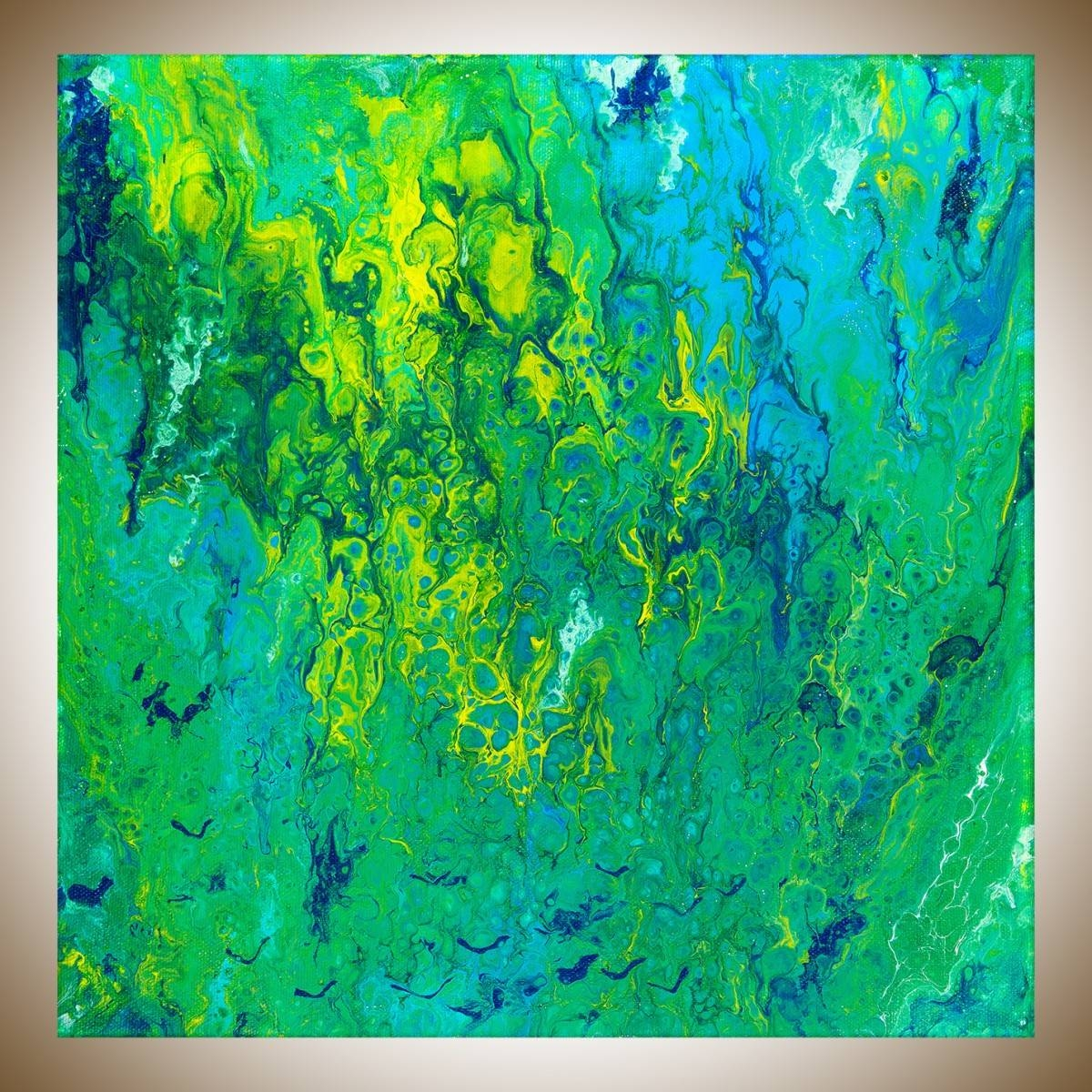 "Flying Birdsqiqigallery 12"" X 12"" Fluid Painting Turquoise With Most Recently Released Yellow And Green Wall Art (View 9 of 20)"