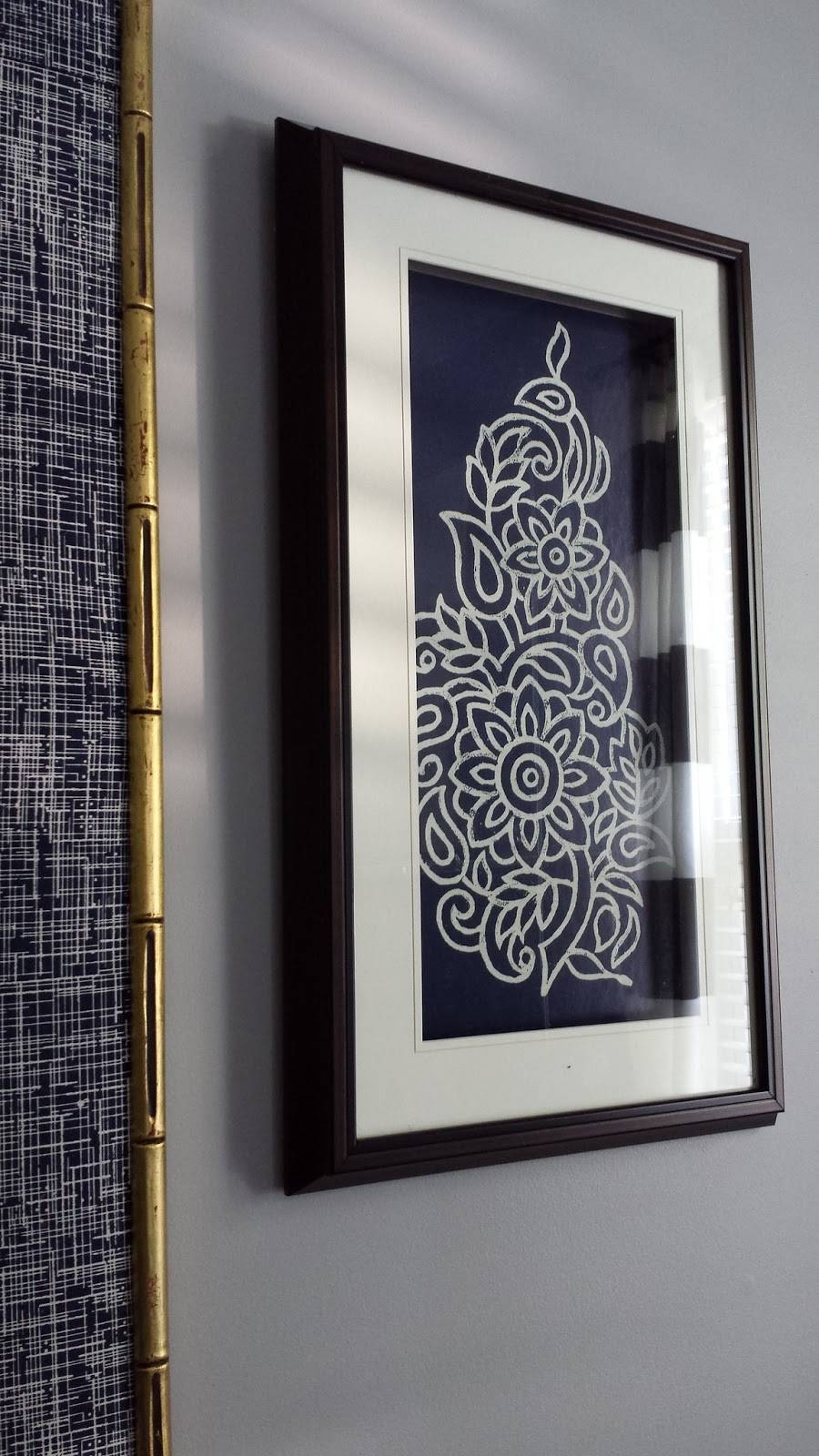Focal Point Styling: Diy Indigo Wall Art With Framed Fabric Inside Most Up To Date Framed Fabric Wall Art (View 6 of 20)