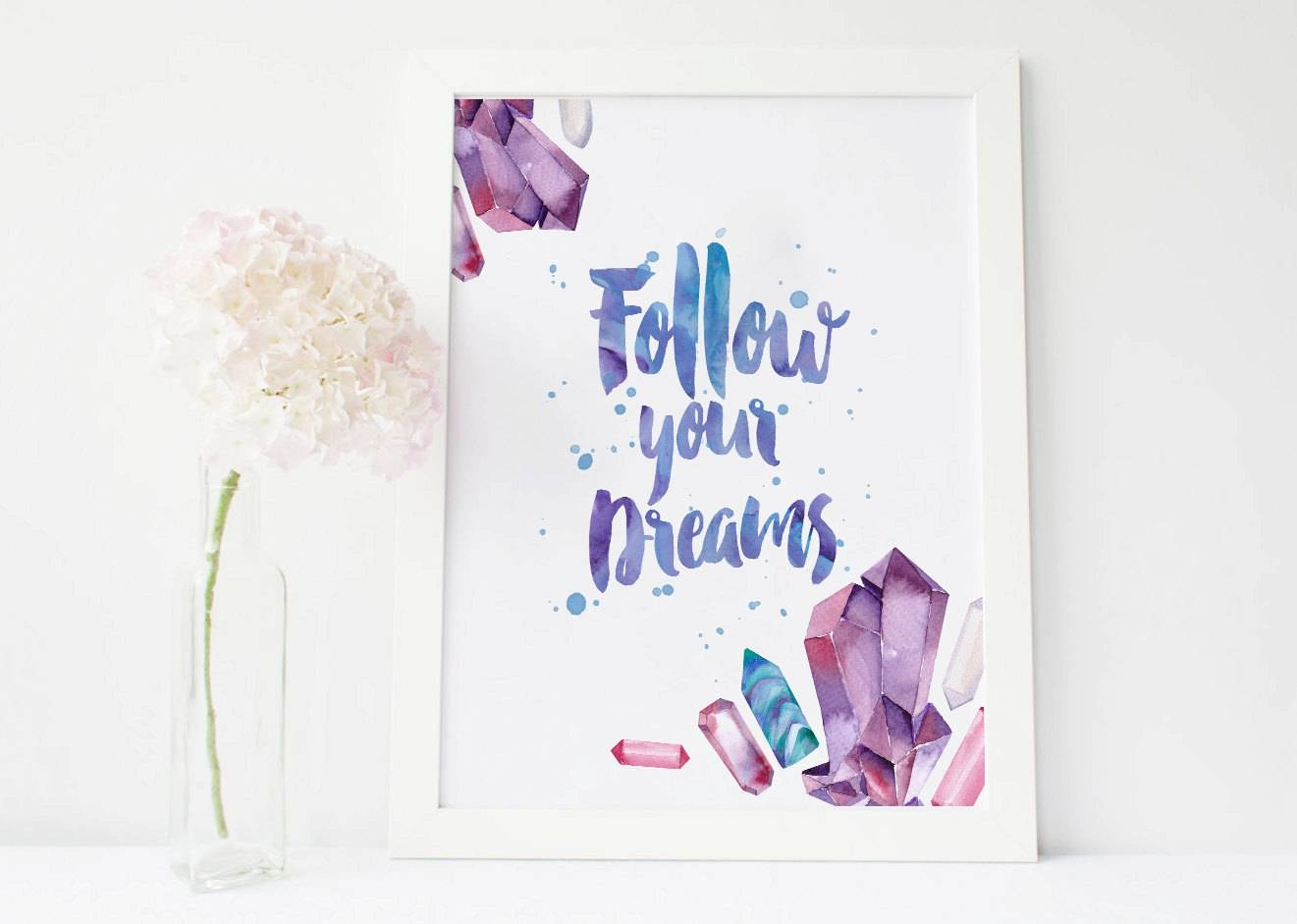 Follow Your Dreams Gemstone Print Gems Wall Decor Gemstone With Most Up To Date Gemstone Wall Art (View 21 of 31)